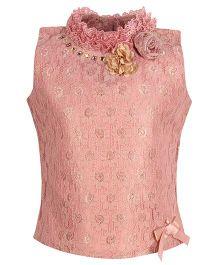 Cutecumber Sleeveless Top With Embellishments - Dusty Pink