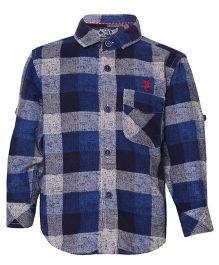 Tales & Stories  Full Sleeves Checks Shirt - Navy Blue
