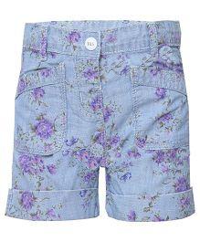Tales & Stories Denim Shorts Floral Print - Light Blue