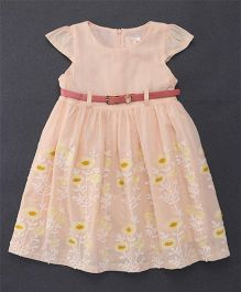 Smile Rabbit Floral Embroidery Dress With Belt - Peach