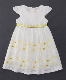 Smile Rabbit Floral Embroidery Dress With Belt - White