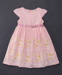 Smile Rabbit Floral Embroidery Dress With Belt - Light Pink