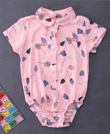 Happiness Leaf Printed Collar Neck Onesie - Dark Pink