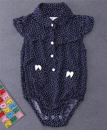 Happiness Heart Printed Onesie - Dark Blue