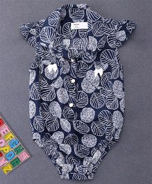 Happiness Leaf Printed Collar Neck Onesie - Dark Blue