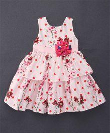 Smile Rabbit Floral Print Sleeveless Dress - Cream & Pink