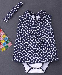 Happiness Heart Printed Dress Style Onesie & Headband - Blue