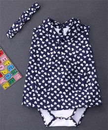 Happiness Heart Printed Dress Style Onesie & Headband - Blue