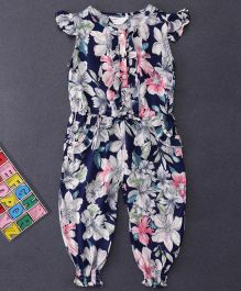 Happiness Flower Printed Jumpsuit - Navy Blue
