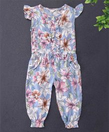 Happiness Flower Printed Jumpsuit - Light Blue