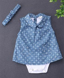 Happiness Floral Design Dress Style Onesie & Headband - Blue