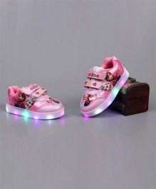 Little Maira LED Stylish Cartoon Applique Shoes - Dark Pink