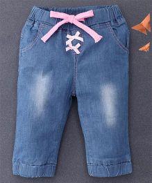 Happiness Bow Applique Denim Pants - Blue