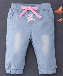 Happiness Bow Applique Denim Pants - Sky Blue