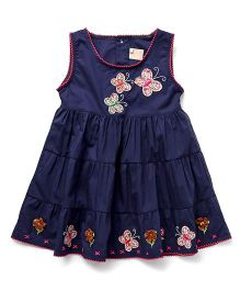 Smile Rabbit Butterfly Applique Dress - Navy Blue