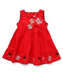 Smile Rabbit Butterfly Applique Dress - Red