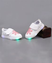 Little Maira LED with Flower Detailing Shoes - Cherry Red