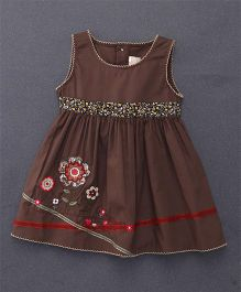 Smile Rabbit Flower Embroidery Dress - Coffee Brown