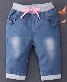 Happiness Washed Denim Pants - Navy Blue & Grey