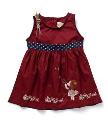 Smile Rabbit Girl Embroidery Dress - Maroon