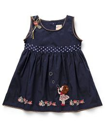 Smile Rabbit Girl Embroidery Dress - Navy Blue