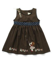 Smile Rabbit Girl Embroidery Dress - Coffee Brown