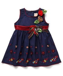 Smile Rabbit Floral Embroidery Dress - Navy Blue
