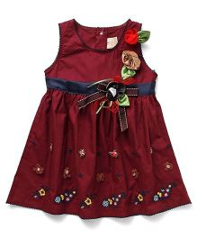 Smile Rabbit Floral Embroidery Dress - Maroon