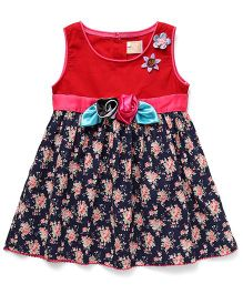Smile Rabbit Floral Print Dress - Red & Navy Blue