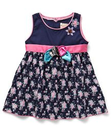 Smile Rabbit Floral Print Dress - Navy Blue & Pink