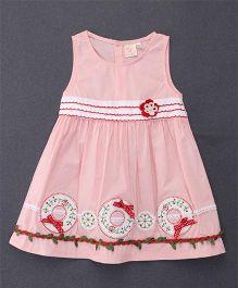 Smile Rabbit Leaf Applique Dress - Pink
