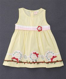 Smile Rabbit Leaf Applique Dress - Yellow