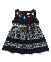 Smile Rabbit Flower Print Dress - Navy Blue