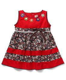Smile Rabbit Flower Print Dress - Red
