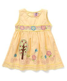 Smile Rabbit Flower Embroidered Dress - Yellow