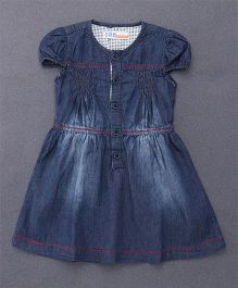DKL Denim Dress With Button Closure At Front - Navy Blue