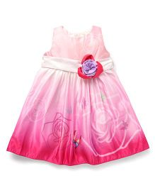 Smile Rabbit Butterfly Design Party Wear Dress - Pink