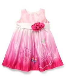 Smile Rabbit Butterfly Design Party Wear Dress With Rose Flower - Pink