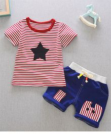 Teddy Guppies T-shirt And Shorts Set - Red Blue