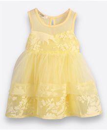 Teddy Guppies Sleeveless Party Wear Frock - Yellow
