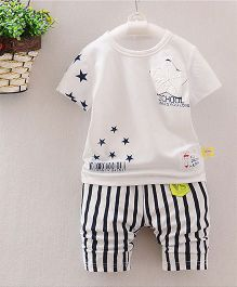 Teddy Guppies Star Print T Shirt With Striped Pant - Black White