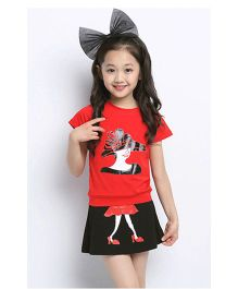 Teddy Guppies Printed Short Sleeves Top And Matching Skirt - Red Black