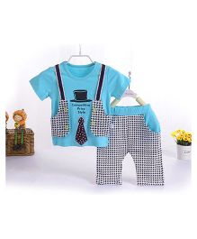 Teddy Guppies Shirt With Jacket Style And Pants - Blue Black White