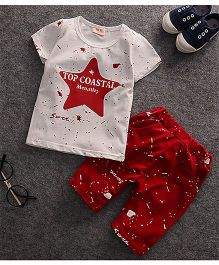 Teddy Guppies Half Sleeve T-Shirt And Shorts Star Print - White Red
