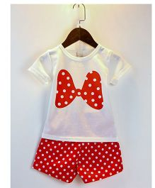 Teddy Guppies Half Sleeves Top And Shorts Set Bow Print - White Red