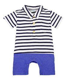 Teddy Guppies Half Sleeves Romper Stripes Print - Black Blue