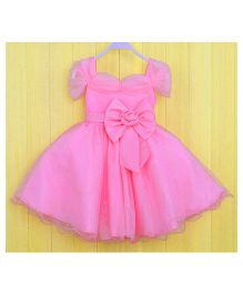 Teddy Guppies Cap Sleeves Frock With Bow - Pink