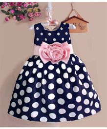 Teddy Guppies Sleeveless Frock Polka Dots Print - Navy Blue