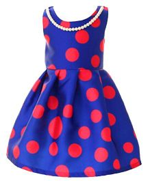 Teddy Guppies Sleeveless Frock With Necklace - Blue Red