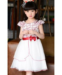 Teddy Guppies Frock With Bow Applique And  Frills - Red And White